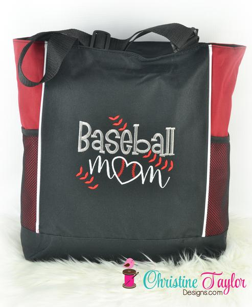 Baseball Mom Tote Bag with pockets