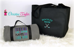 Hockey Mom Blanket and Tote SET