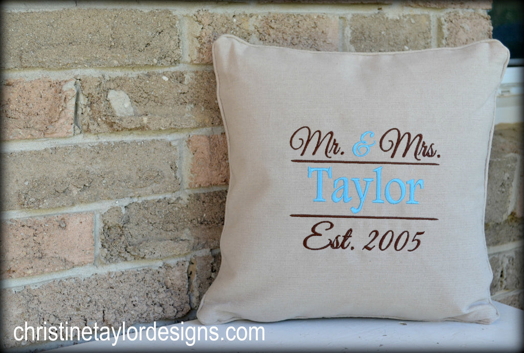 Personalized Throw Pillow - Wedding (Mr. & Mrs. Design)
