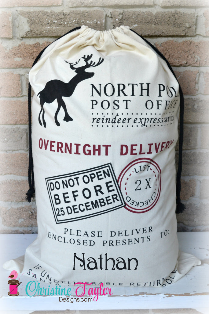 Personalized Santa Sacks - Reindeer Design CREAM SACK