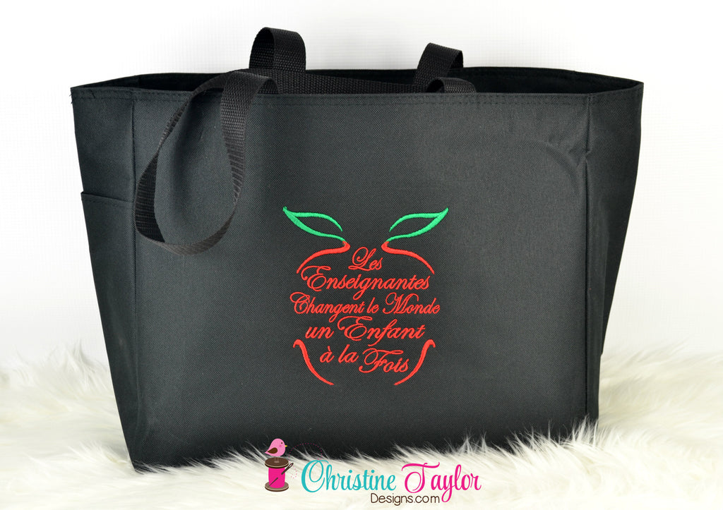 READY MADE Teacher Tote Bag - French Apple