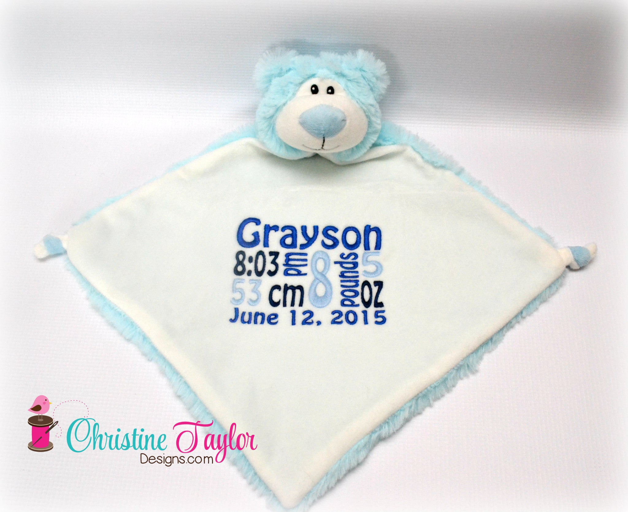 "Blue Bear - 13"" Cuddle Blanket - Christine Taylor Designs"