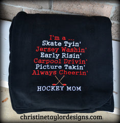Hockey Mom Fleece Blanket - Hockey Mom Design - Christine Taylor Designs