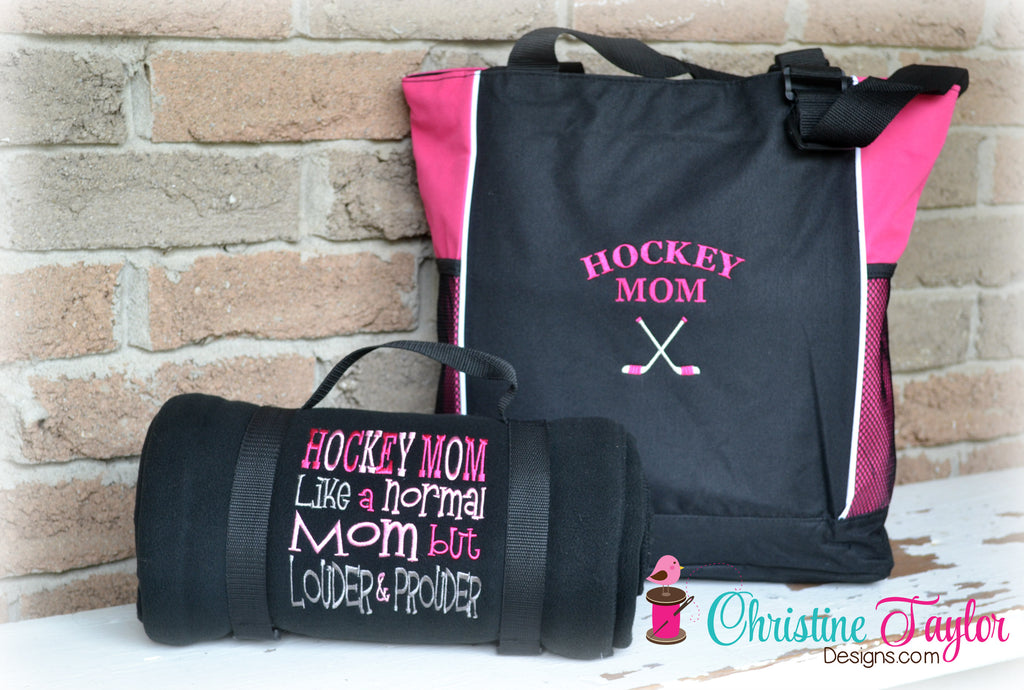 Hockey Mom Loud and Proud Blanket and Tote SET