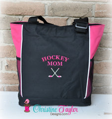 Hockey Mom Tote Bag with pockets