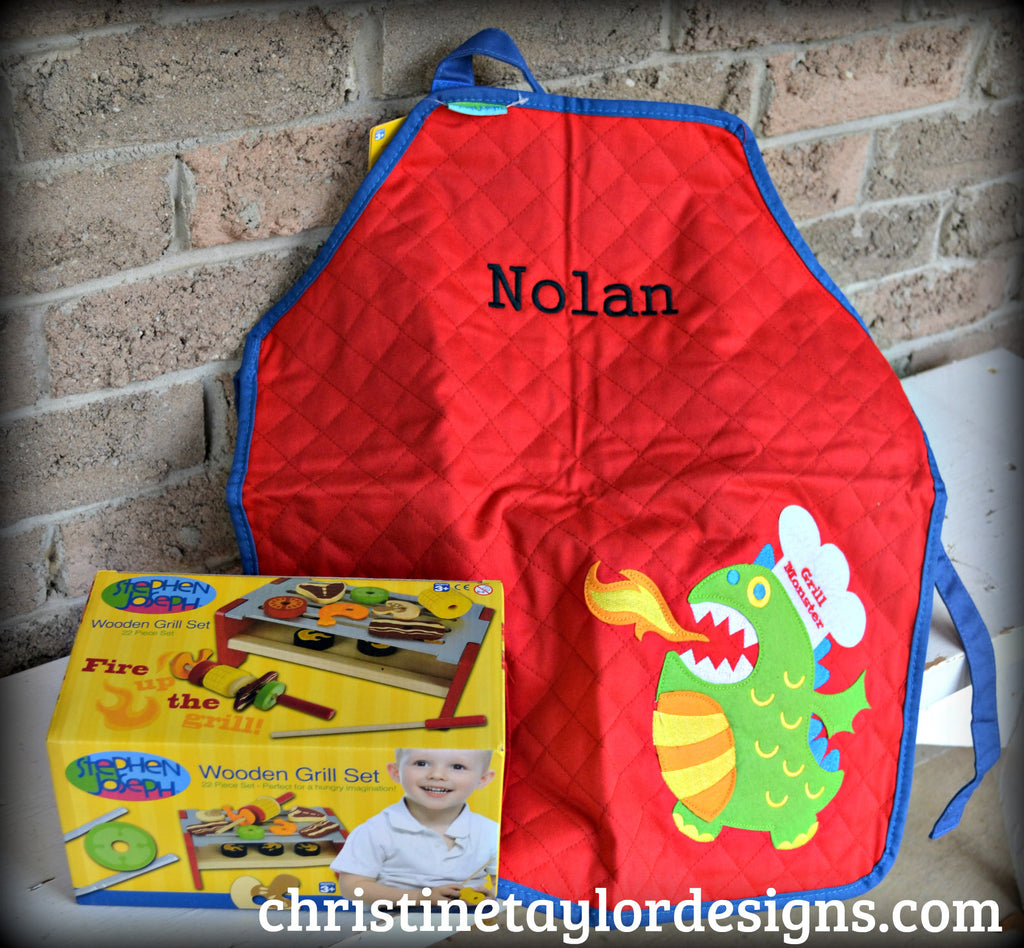 Stephen Joseph Apron and Grill Set - Monster