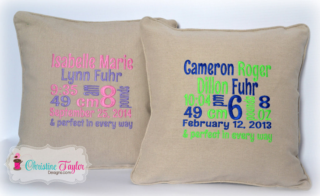 Personalized Throw Pillow - Birth Stats Block
