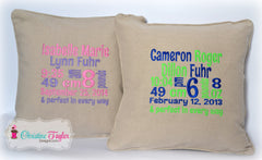 Personalized Throw Pillow - Birth Stats Block - Christine Taylor Designs
