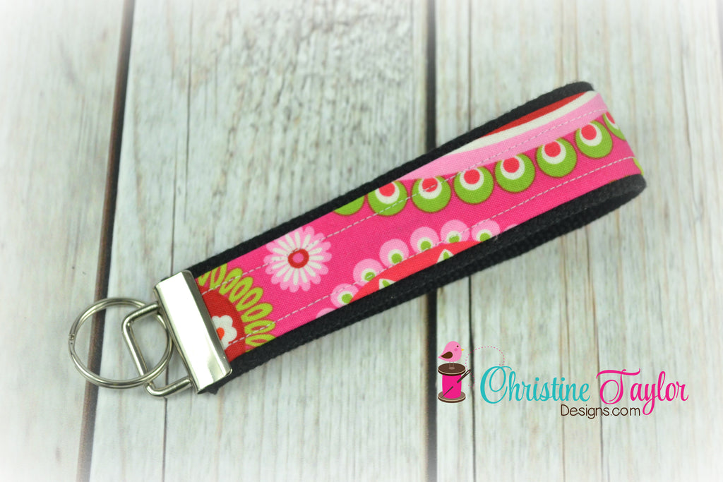 READY MADE Key Fob - Pink and Lime on Black