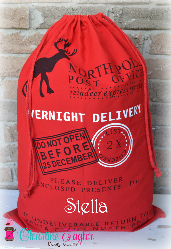 Personalized Santa Sacks - Reindeer Design RED SACK