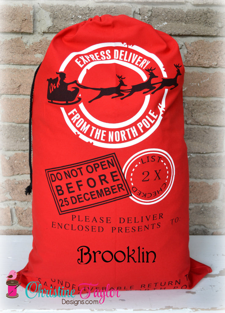 Personalized Santa Sacks - Santa Sleigh Design RED SACK