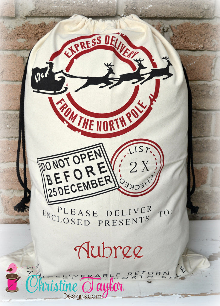 Personalized Santa Sacks - Santa Sleigh Design CREAM SACK