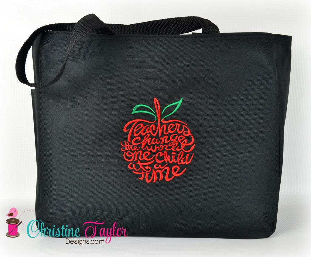 READY MADE Teacher Tote Bag - APPLE DESIGN