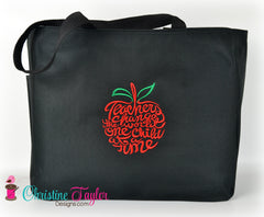 READY MADE Teacher Tote Bag - APPLE DESIGN - Christine Taylor Designs