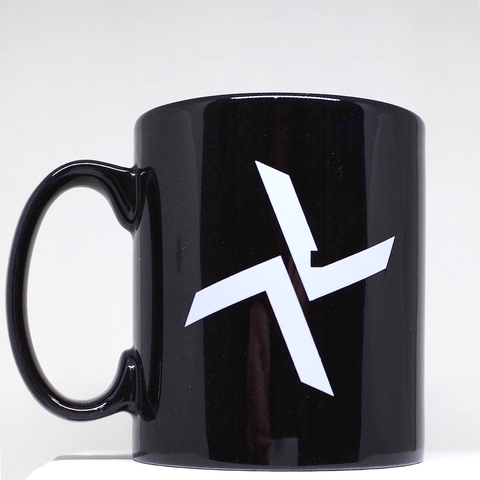 Black Burial Mug with White Logo