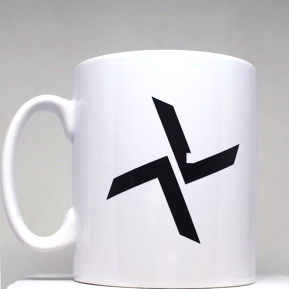 White Burial Mug with Black Logo