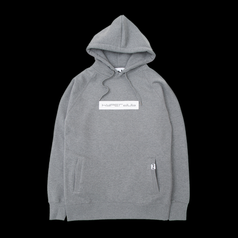 Hyperdub Hooded Top, White Logo on Heather Grey