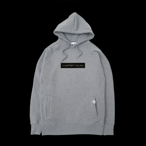 Hyperdub Hooded Top, Black Logo on Heather Grey