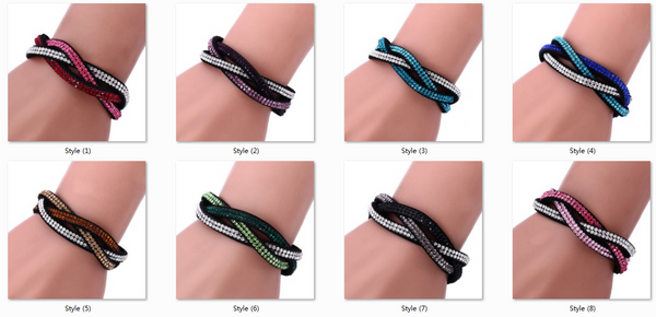 Fashion Jewelry 6 Layer Wrap Bracelets Slake Leather Bracelets With Rhinestone Crystals Bracelets Couple Bracelets