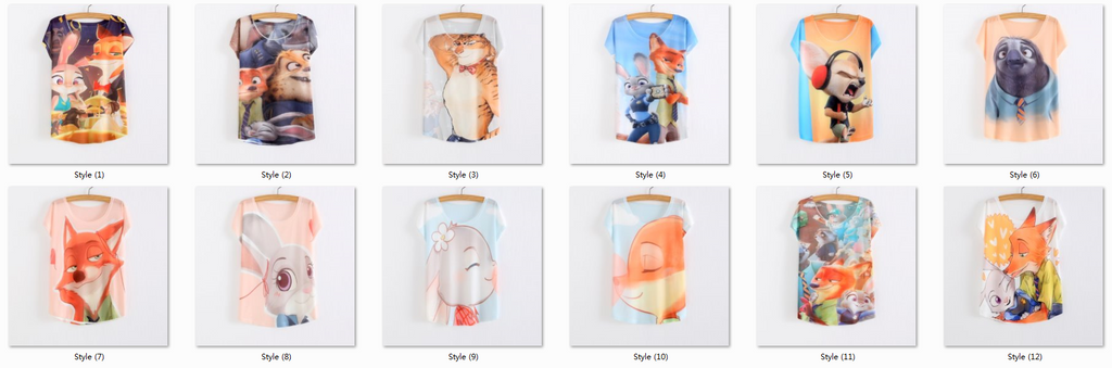 New Women's T-shirt summer tees top Thin style Cute rabbit Judy print batwing sleeve T shirts