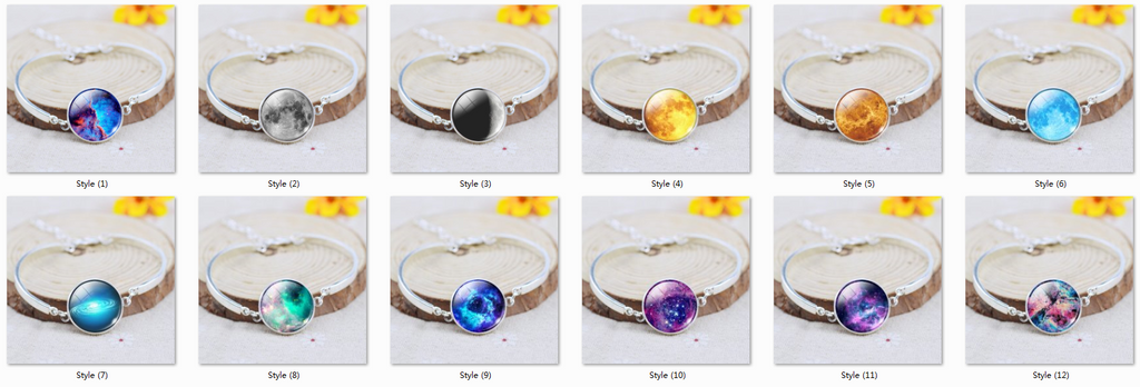 Silver Color Color Bangle Star Moon Glass Cabochon Charm Bracelets & Bangles Fashion Summer Style Jewelry for Women