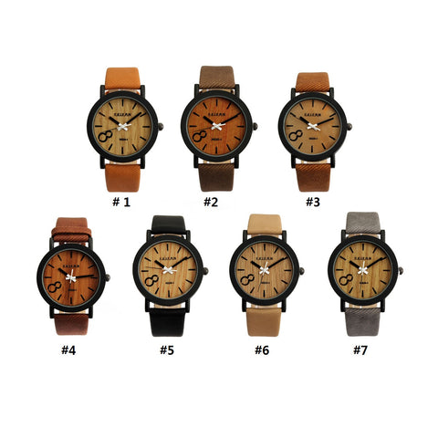 New Fashion Design Simulation Wooden Quartz Men Watches Casual Wooden Color Leather Strap Watch Wood Male Wristwatch Hot