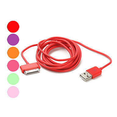USB Data and Charging Cable for iPad, iPhone and iPod (Assorted Colors, 200 cm)