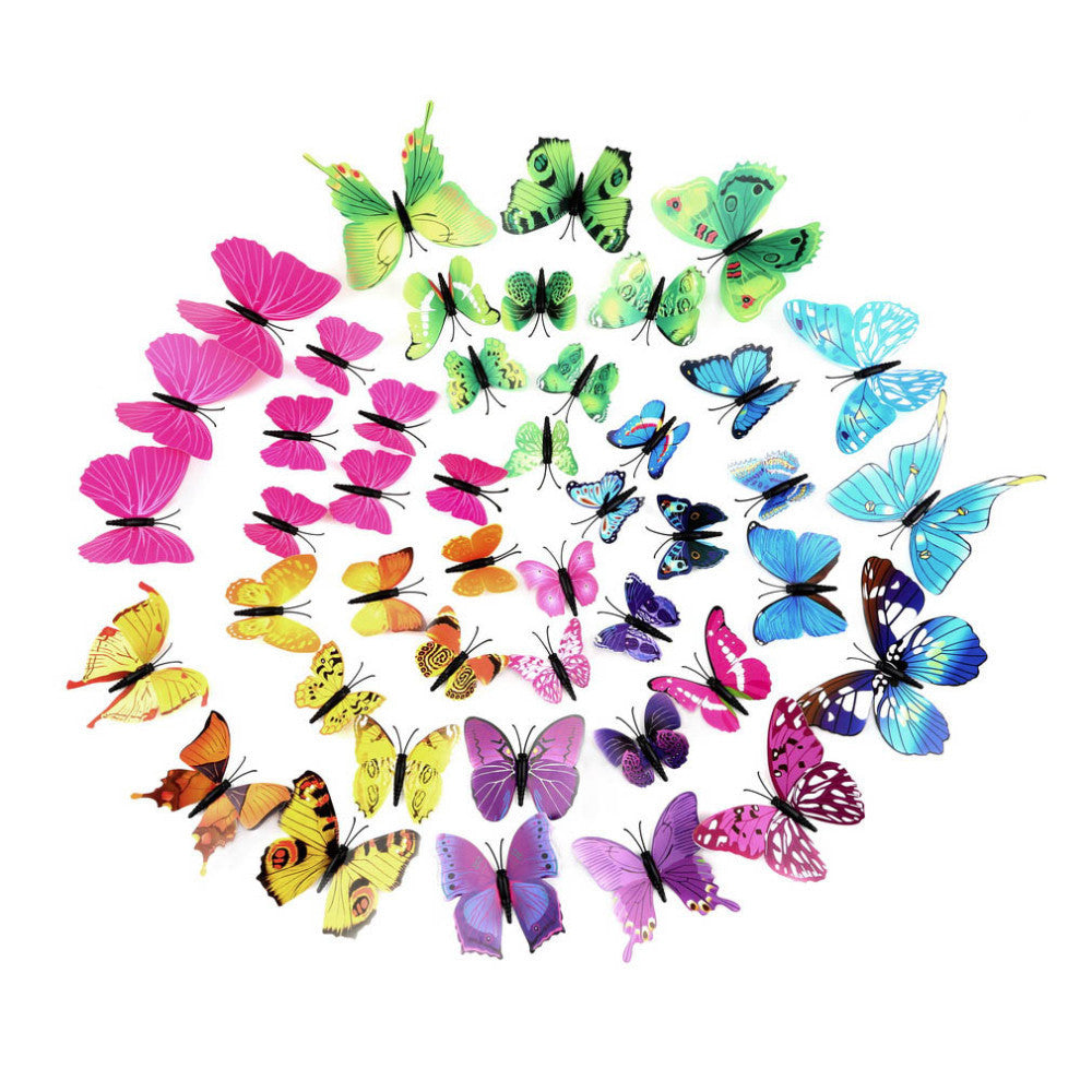 PVC 3D Butterfly Tatoos Wall Sticker Home Decoration Decals Fridge Sticker Wedding Wall Decals-12pcs/pack