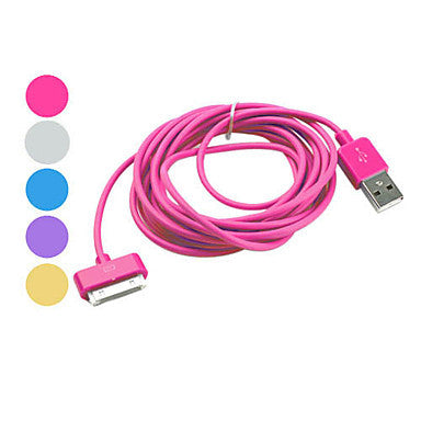 Colorful USB Cable for iPhone, iPad & iPod (Assorted Color,Apple 30 pin, 300cm)