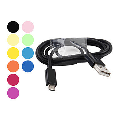 USB Male to Micro USB Male Cable for Samsung Galaxy S4/S3/S2 and HTC/Nokia/Sony/LG (Assorted Colors)