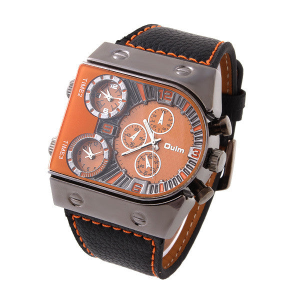 Sports Watch Multiple Time Zone quartz Watch Boat nails military watches men's wristwatches sub-dials decoration