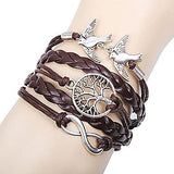 Women's Multilayer Alloy Love Birds Life Tree and Infinity Handmade Leather Bracelet