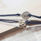 Women's Multilayer Alloy Anchor Infinite Charms Handmade Leather Bracelets