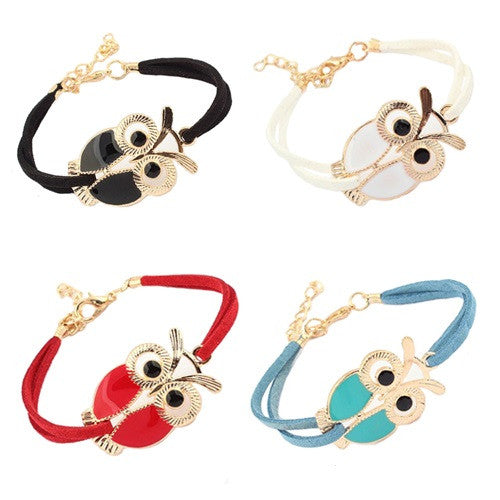 Alloy Owl Charm Sideways Leather Bracelets With an Adjustable String Bracelet