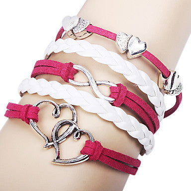 Women's Alloy Charms Infinity Love Double Heart Multi Strand leather bracelets