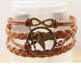 Metal Hunger Games Birds Infinity Bracelet Leather Multilayer bracelet