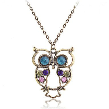 Antique Copper Alloy Zircon Owl Pattern Necklace