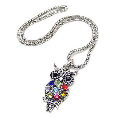 Lovely Colorful Owl Alloy Zircon Necklace
