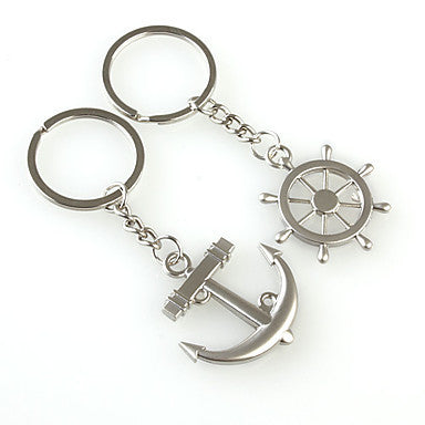 Rudder and Anchor Shaped Metal Keychain, 1 Pair