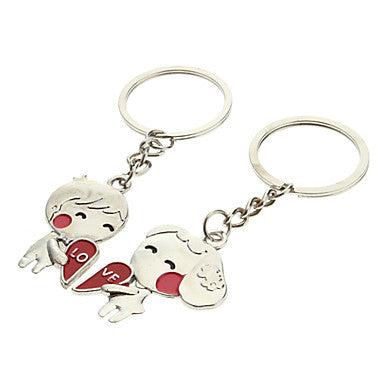 A Pair Boy & Girl Heart Shaped Lovers Keychains
