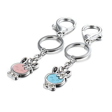 1 Pair Candy Color Bunny Rabbit Zinc Alloy Couple Keychain