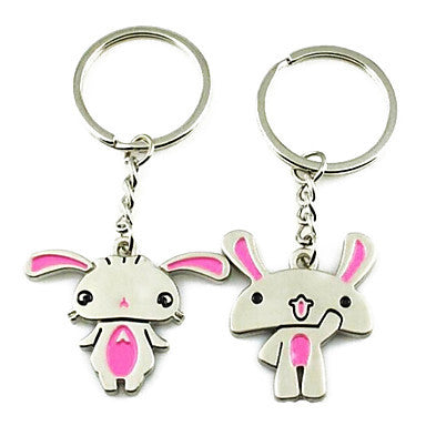 Cute Cartoon Men and Women Interesting High-grade Stainless Steel Keychain Symbol of Love(1 pair)