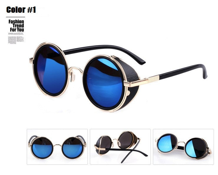 Steampunk Retro Coating mens vintage round Sunglasses Men women brand designer