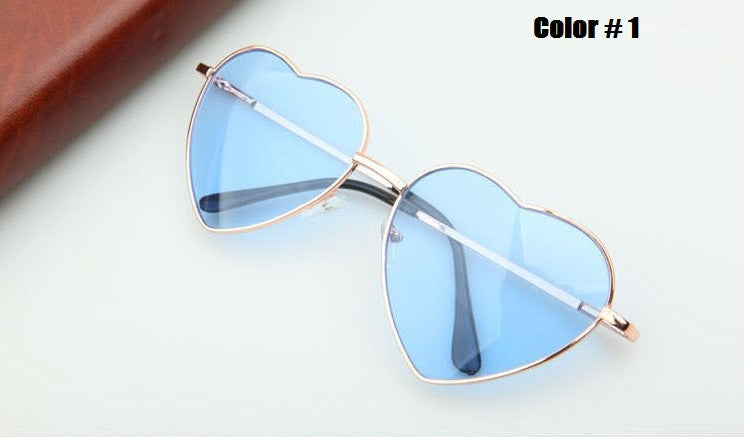 Heart Shaped Sunglasses Women metal Reflective Lense Fashion sun Glasses