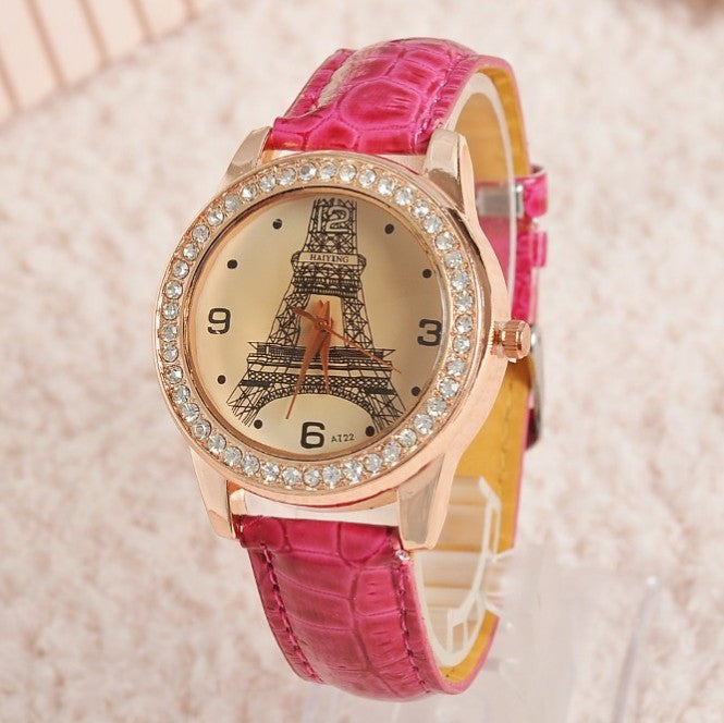 Women Girl's Champagne Dial Lovers Lips Eiffel Tower Analog Quartz Wrist Watch Watches