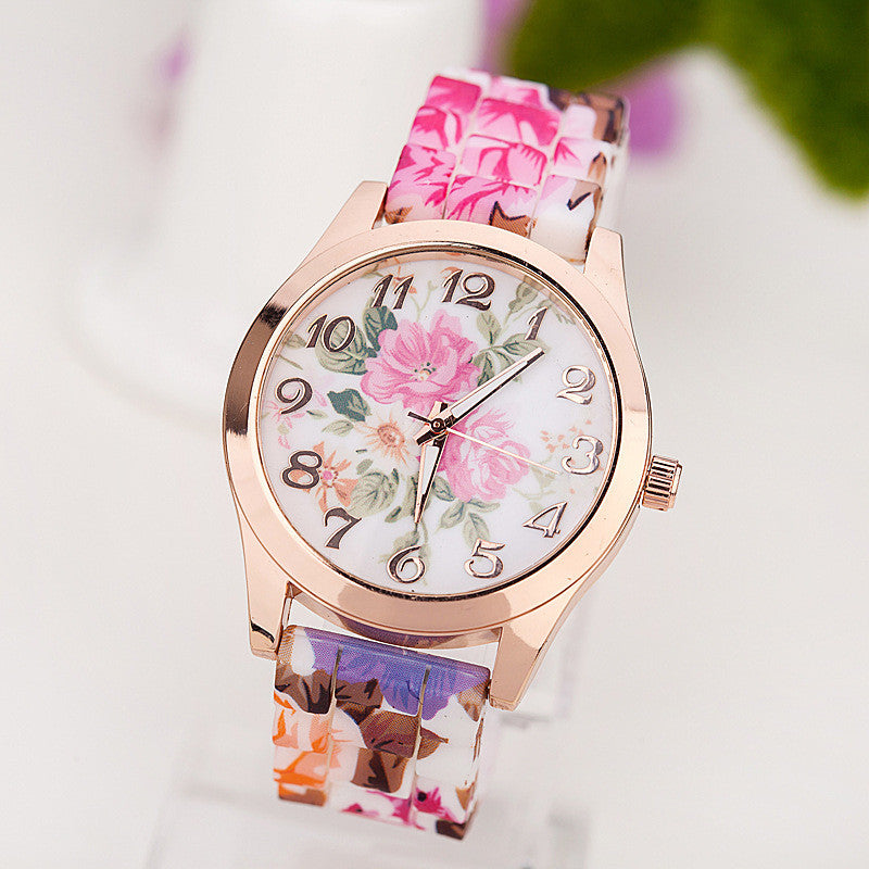 New Fashion Quartz Watch Rose Flower Print Silicone Watches
