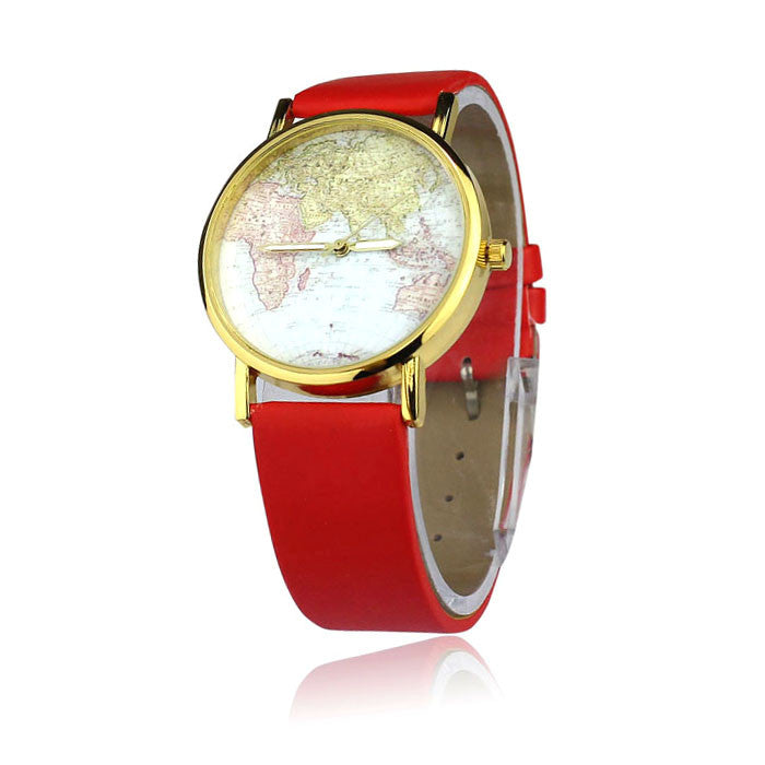 Fashion watch Women's Watch World Map Pattern PU Band