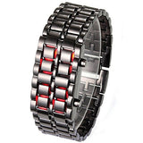 Fashion Men Women Lava Iron Samurai Metal LED Faceless Bracelet Watch Wristwatch