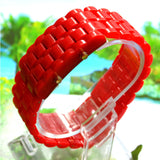 Red LED Digital Lava Plastic Sport Men Women Unisex Wrist Day Date Watch led watch