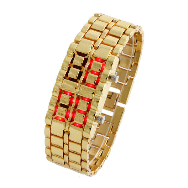 Unisex Digital Casual Watches Men and Women's Watch Blue & Red LED Digital Lava Style Gold Steel Band